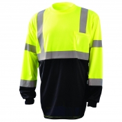 OccuNomix LUX-LSETPBK Class 3 Black Bottom Wicking Birdseye Mesh Safety T-Shirt - Yellow/Lime