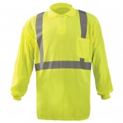 OccuNomix LUX-LSPP2B Class 2 Long Sleeve Wicking Birdseye Safety Polo - Yellow/Lime