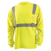 OccuNomix LUX-LST2/FR Class 2 Long Sleeve FR Safety T-Shirt - Yellow/Lime