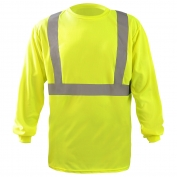 OccuNomix LUX-LST2BX Class 2 Long Sleeve X-Back Wicking Birdseye Safety T-Shirt - Yellow/Lime