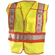 OccuNomix LUX-PSF ANSI Type P Class 2 Solid Public Fire Safety Vest - Yellow/Red