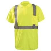 OccuNomix LUX-SSPP2B Class 2 Wicking Birdseye Safety Polo - Yellow/Lime