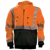 OccuNomix LUX-SWTHZBK Class 3 Black Bottom Safety Hoodie - Orange