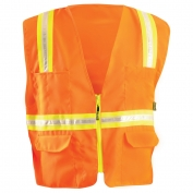 OccuNomix LUX-XTRANS Non ANSI Solid Two-Tone Surveyor Safety Vest - Orange