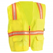 OccuNomix LUX-XTRANS Non ANSI Solid Two-Tone Surveyor Safety Vest - Yellow/Lime