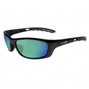 Wiley X P-17 Sunglasses - Gloss Black Frame - Polarized Emerald Green Lens