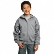 Port & Company PC90YZH Youth Full-Zip Hooded Sweatshirt - Athletic Heather