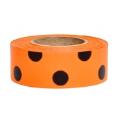 Presco PDOGBK Polka Dot Roll Flagging Tape - Orange Glo/Black