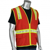 PIP 300-1000 Non-ANSI Two-Tone Surveyor Safety Vest - Red