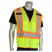 PIP 302-0212 Class 2 Breakaway Two-Tone Mesh Safety Vest - Yellow/Lime