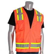 PIP 302-0500 Class 2 Two-Tone Surveyor Safety Vest with Six Pockets - Orange