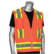 PIP 302-0500M Class 2 Two-Tone Surveyor Mesh Safety Vest - Orange