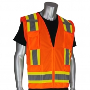PIP 302-0500S Class 2 Two-Tone Surveyor Solid Safety Vest - Orange