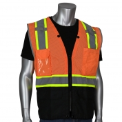 PIP 302-0650D Class 2 D-Ring Access Two-Tone Black Bottom Mesh Safety Vest - Orange
