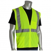 PIP 302-0702Z Economy Class 2 Mesh Safety Vest with Two Pockets & Zipper - Yellow/Lime