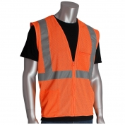 PIP 302-0702Z Economy Class 2 Mesh Safety Vest with Two Pockets & Zipper - Orange
