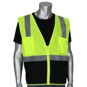 PIP 302-0710B Economy Type R Class 2 Black Bottom Mesh Safety Vest - Yellow/Lime