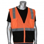 PIP 302-0710B Economy Type R Class 2 Black Bottom Mesh Safety Vest - Orange
