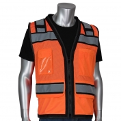 PIP 302-0800D Class 2 Black Two-Tone Mesh D-Ring Surveyor Safety Vest - Orange