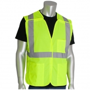 PIP 302-5PMV Class 2 Mesh Breakaway Safety Vest with Three Pockets - Yellow/Lime