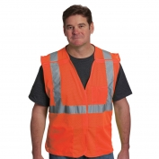 PIP 302-5PMV Class 2 Mesh Breakaway Safety Vest with Three Pockets - Orange