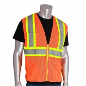 PIP 302-MAPM Class 2 Mesh Two-Tone Surveyor Safety Vest with Twelve Pockets - Orange