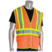 PIP 302-MVAT Class 2 Two Tone Mesh Safety Vest with Three Pockets - Orange