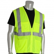 PIP 302-MVGZ4P Economy Class 2 Mesh Safety Vest with Four Pockets - Yellow/Lime