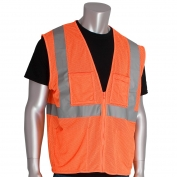 PIP 302-MVGZ4P Economy Class 2 Mesh Safety Vest with Four Pockets - Orange