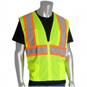 PIP 302-MVZP Class 2 Two-Tone Mesh Safety Vest with Six Pockets - Yellow/Lime