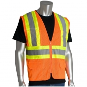 PIP 302-MVZP Class 2 Two-Tone Mesh Safety Vest with Six Pockets - Orange