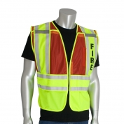 PIP 302-PSV-RED Type P Class 2 Public Safety Vest with FIRE Text - Yellow/Red
