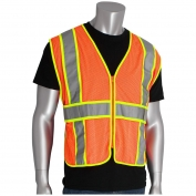 PIP 302-USV5 Class 2 Two-Tone Adjustable Mesh Safety Vest - Orange
