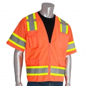 PIP 303-0500 Class 3 Two-Tone Surveyor Safety Vest with Six Pockets - Orange