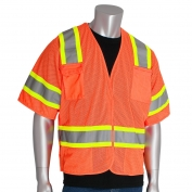 PIP 303-5PMTT Class 3 Two-Tone Breakaway Safety Vest - Orange