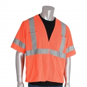PIP 303-HSVE Economy Class 3 Mesh Safety Vest with Four Pockets - Orange