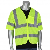PIP 303-V100 Economy Type R Class 3 Dual Sized Value Mesh Safety Vest - Yellow/Lime