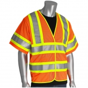 PIP 305-HSVPFR Class 3 Self Extinguishing Two-Tone Mesh Safety Vest - Orange