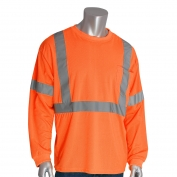 PIP 313-1300 Class 3 Long Sleeve Safety T-Shirt - Orange