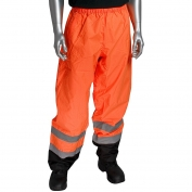 PIP 318-1757 Class E Black Bottom Safety Pants - Orange