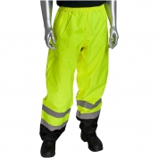 PIP 318-1757 Class E Black Bottom Safety Pants - Yellow/Lime