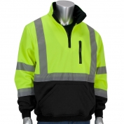 PIP 323-1330B Class 3 1/4 Zip Pullover Safety Sweatshirt with Black Bottom - Yellow/Lime