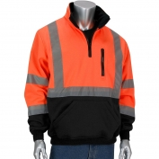 PIP 323-1330B Class 3 1/4 Zip Pullover Safety Sweatshirt with Black Bottom - Orange