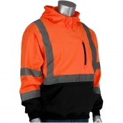 PIP 323-1350B Class 3 Hooded Pullover Safety Sweatshirt with Black Bottom - Orange