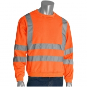PIP 323-CNSSE Class 3 Crew Neck Safety Sweatshirt - Orange