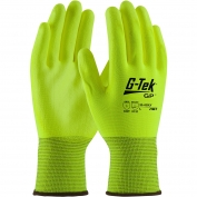 PIP 33-425LY G-Tek GP Hi-Vis Seamless Knit Polyester Gloves - Polyurethane Coated Smooth Grip on Palm & Fingers