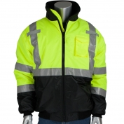 PIP 333-1740 Type R Class 3 Black Bottom Bomber Jacket with Quilted Built-In Liner - Yellow/Lime