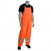 PIP 353-2001 Class E Heavy Duty Waterproof Breathable Rain Bib - Orange