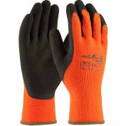 PIP 41-1400 PowerGrab Thermo Hi-Vis Seamless Knit Acrylic Terry Gloves - Latex MicroFinish Grip on Palm & Fingers