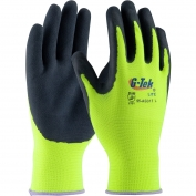 PIP 55-AG317 G-Tek Lite Gloves - Polyester Shell with Latex Coated MicroSurface Grip - Hi-Viz Yellow/Black